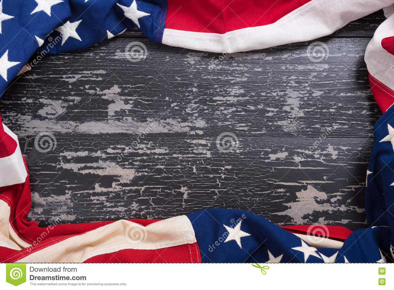 Download Old American Flag On Wooden Plank Background Stock Photo