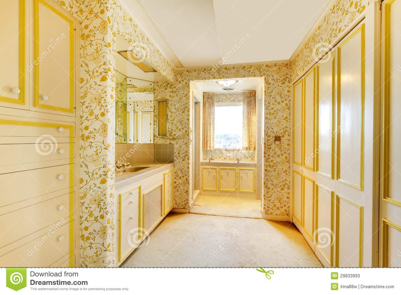 Old American House Bedroom With Wallpaper And Carpet Stock Image Image Of Building