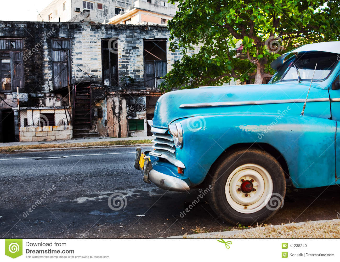 old retro american car on street in havana cuba editorial image 43571584. Black Bedroom Furniture Sets. Home Design Ideas