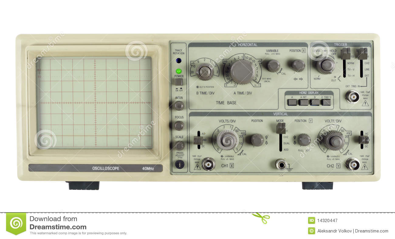 Old Oscilloscope Screen : Old analogue oscilloscope royalty free stock photography