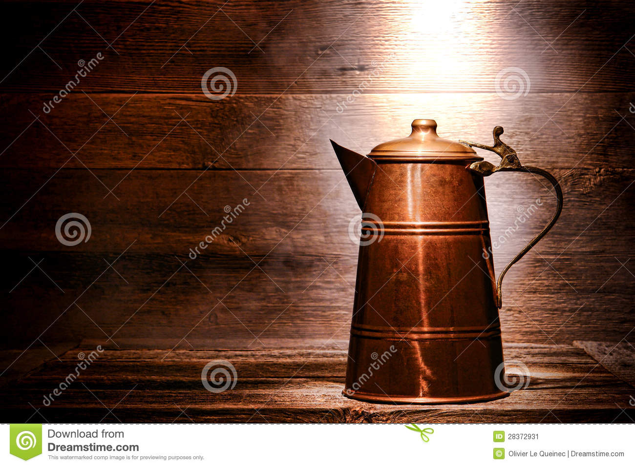 Old Antique Copper Water Pitcher In Ancient House Stock ...
