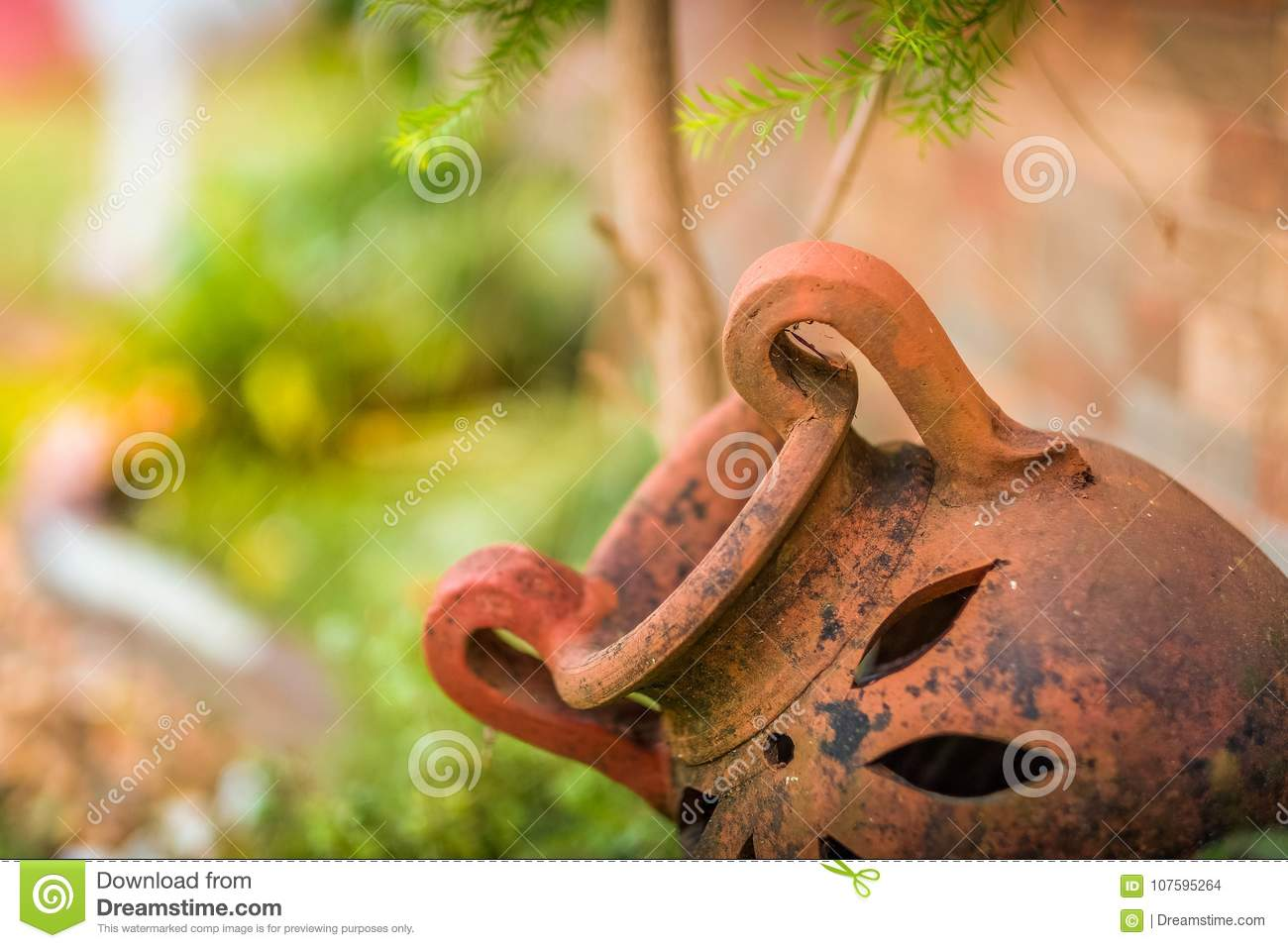 Download Old Antique Garden Pot In The Landscape Stock Photo   Image Of  Garden, Plants
