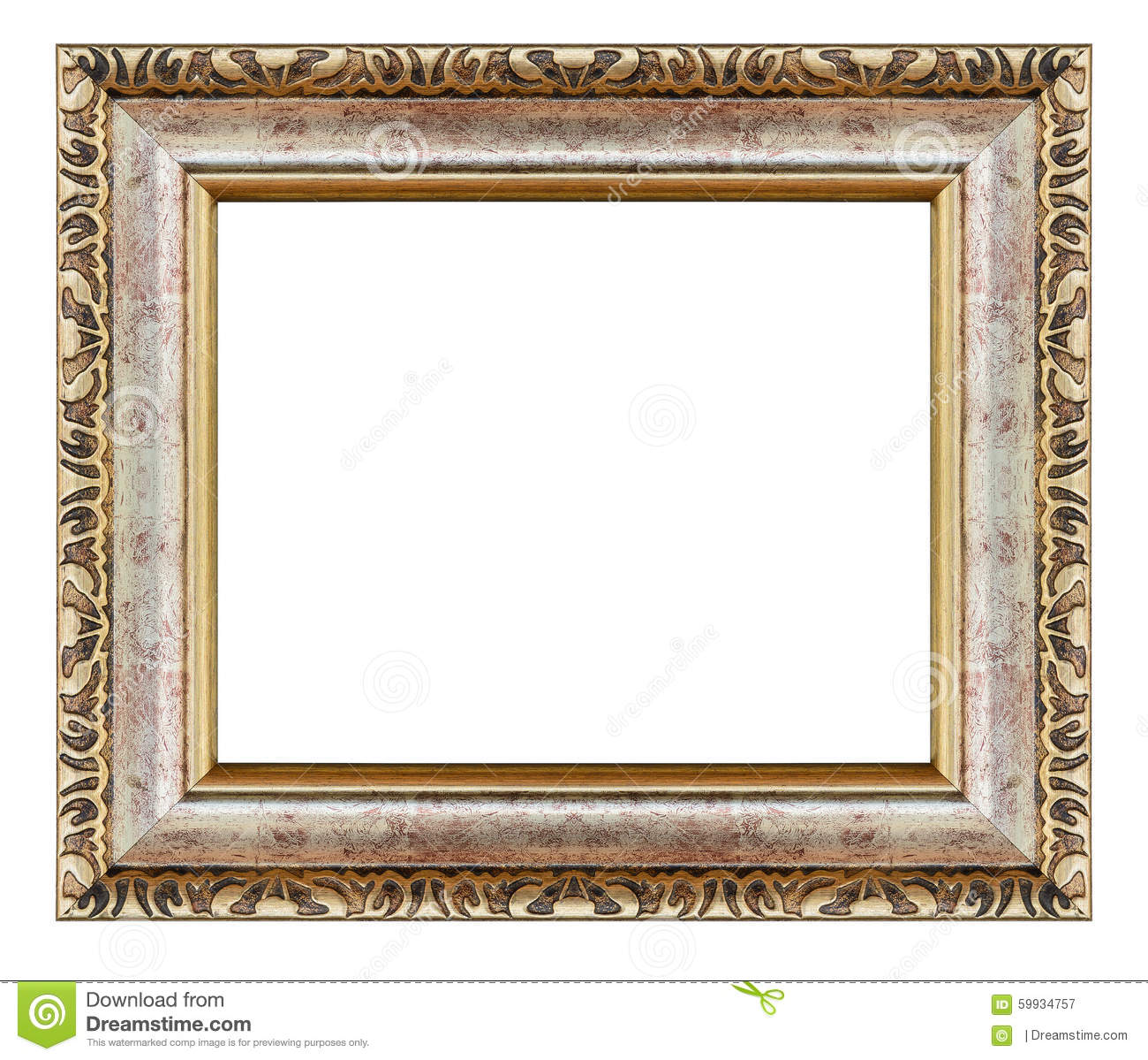 Decorative Wood Framing : Old antique gold frame isolated decorative carved wood