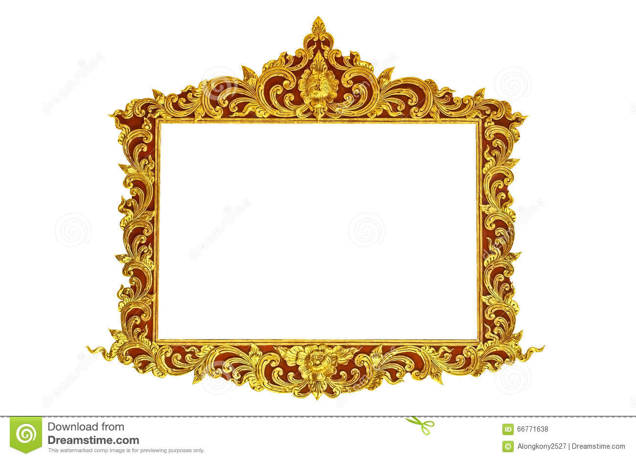 Old Antique Gold Frame Stucco Walls Greek Culture Roman Vintage Style Pattern Line Design For Border Isolated On White Background Stock Photo
