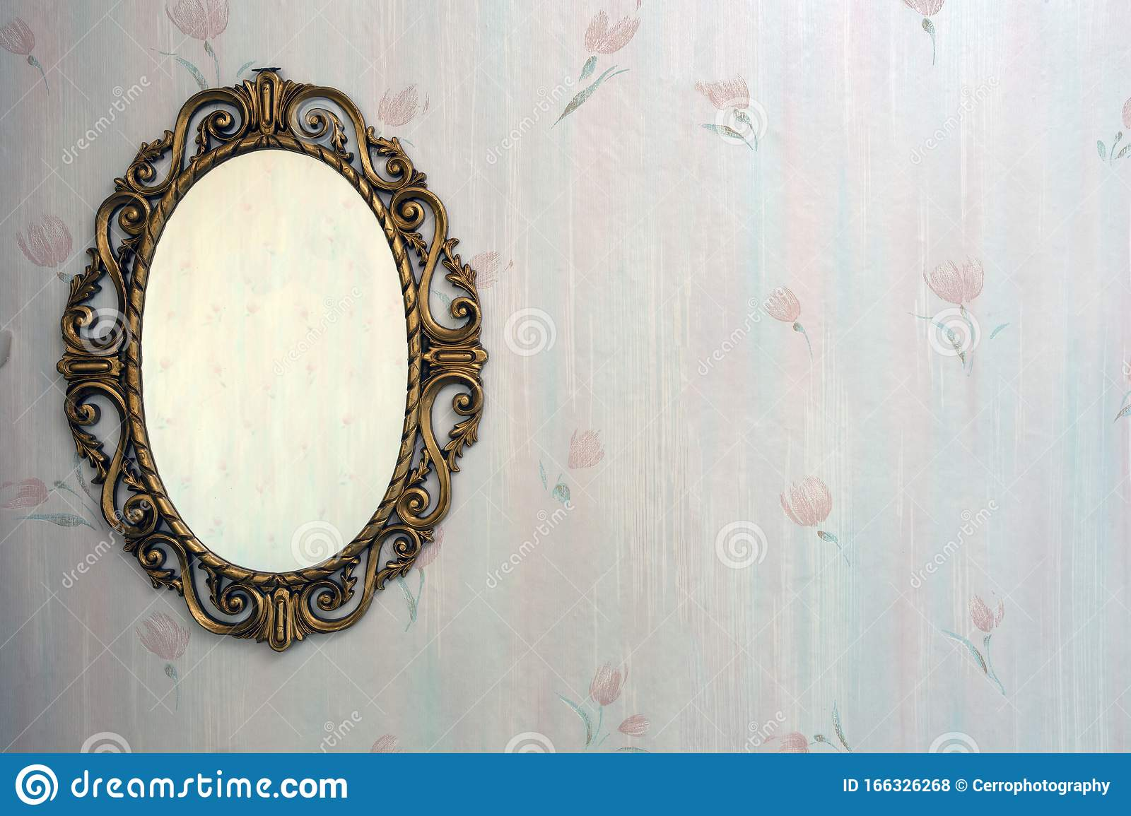 Old Antique Gold Mirror Hanging In A Vintage Room With Old ...
