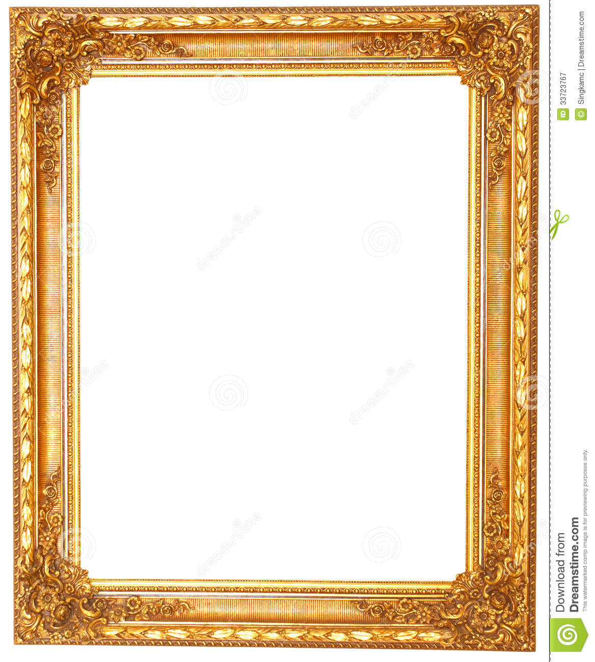 Old Antique Golden Frame Isolated On White Background
