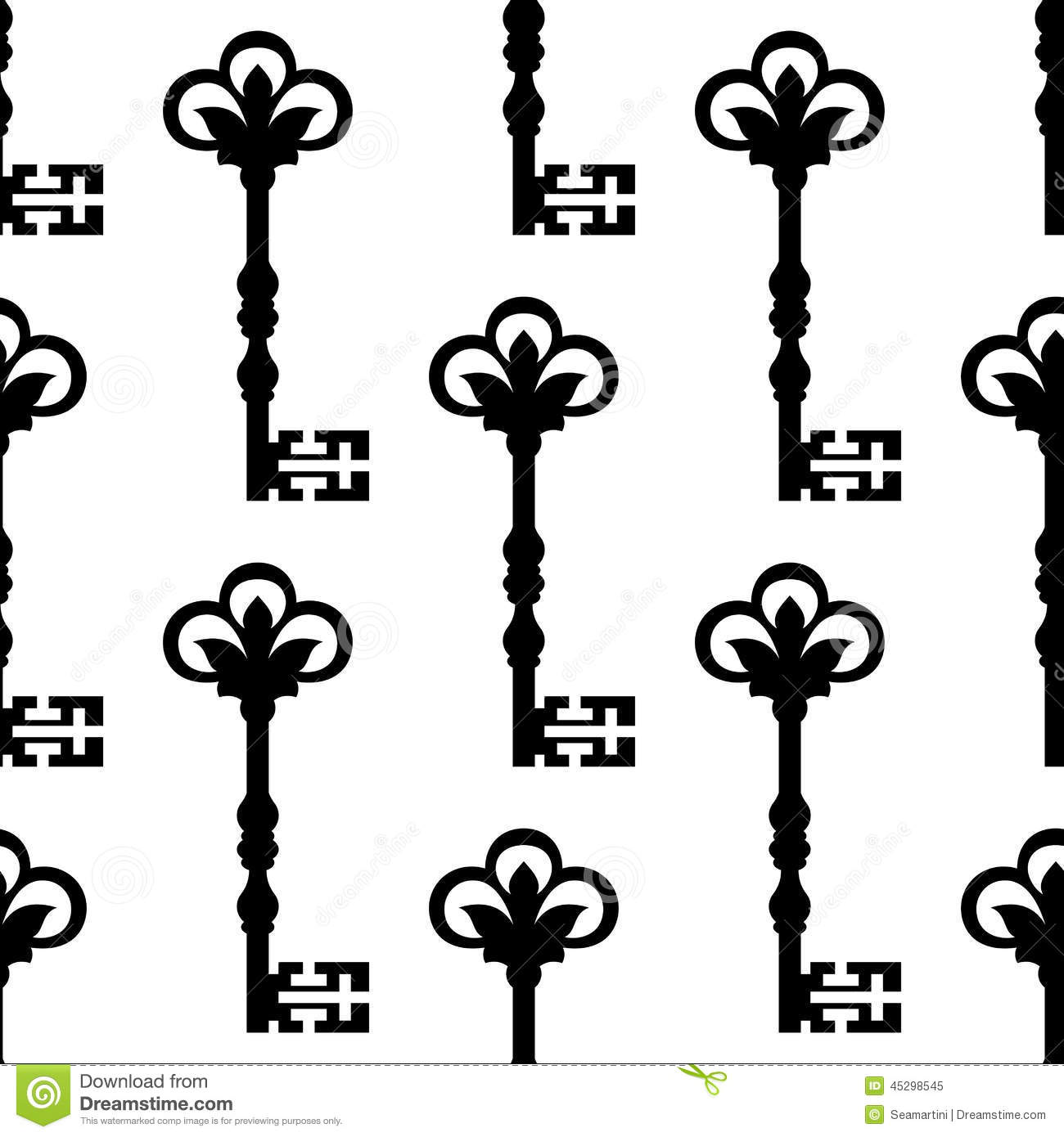 Old Antique Key Seamless Background Pattern