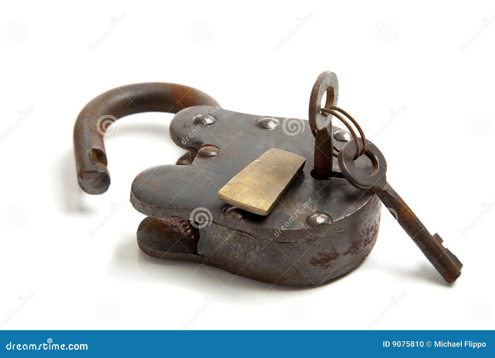 old antique lock with key stock photo image of vintage 9075810. Black Bedroom Furniture Sets. Home Design Ideas