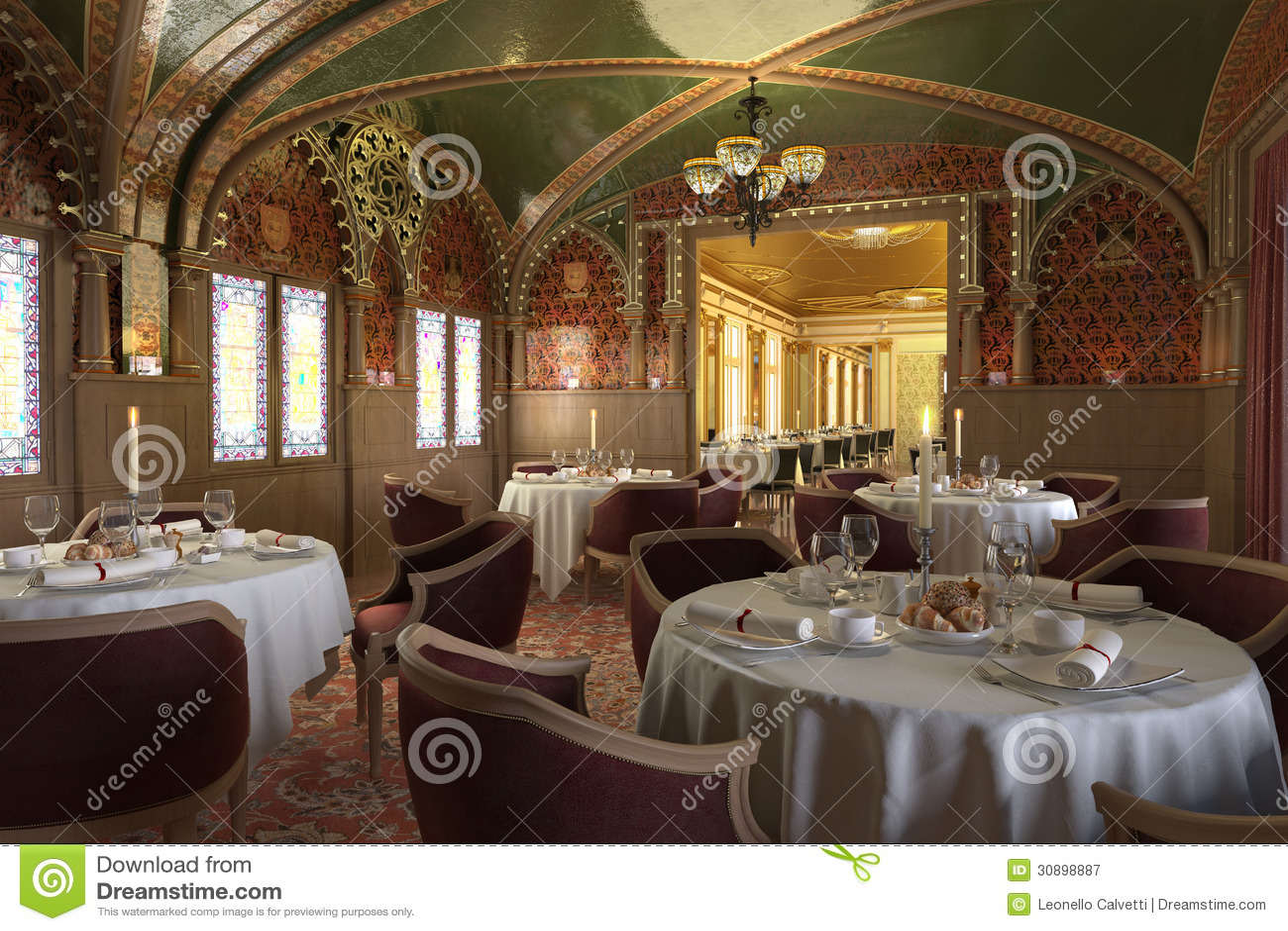 old antique restaurant interior with decorations stock. Black Bedroom Furniture Sets. Home Design Ideas