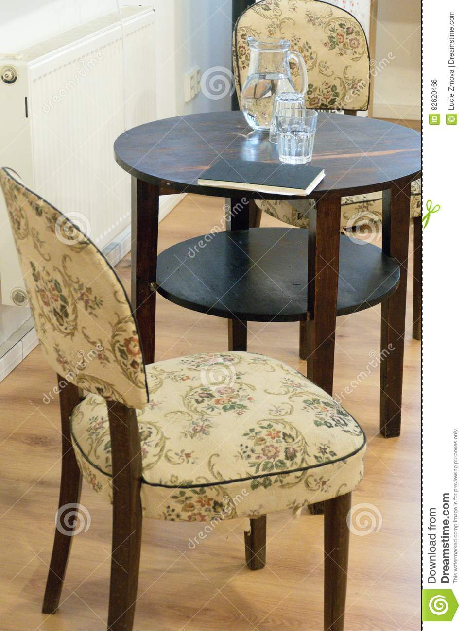 Old antique table and two chairs - Old Antique Table And Two Chairs Stock Photo - Image Of Luxury