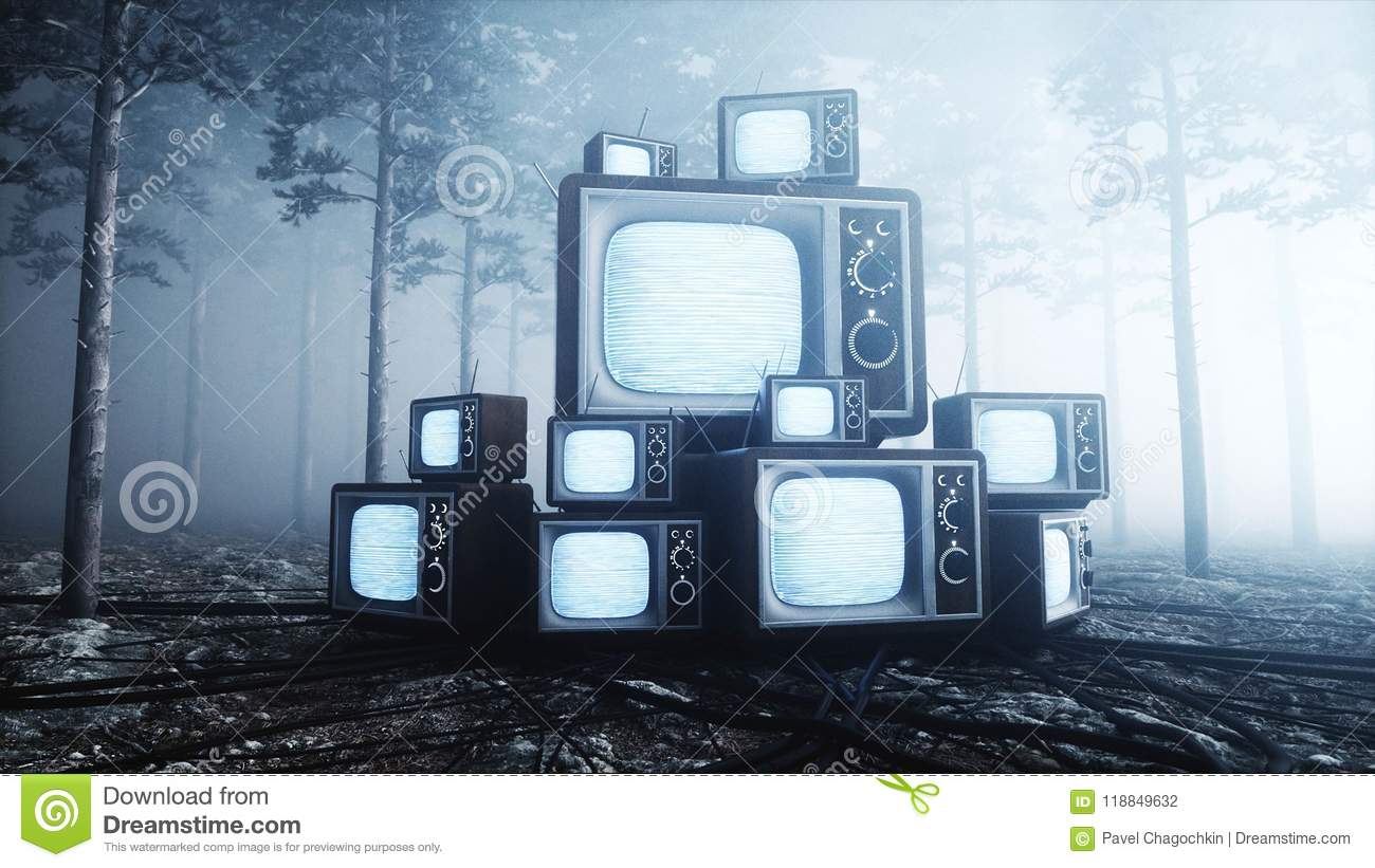 Old antique TV in fog night forest. Fear and horror. Mistic concept. Broadcast. 3d rendering.