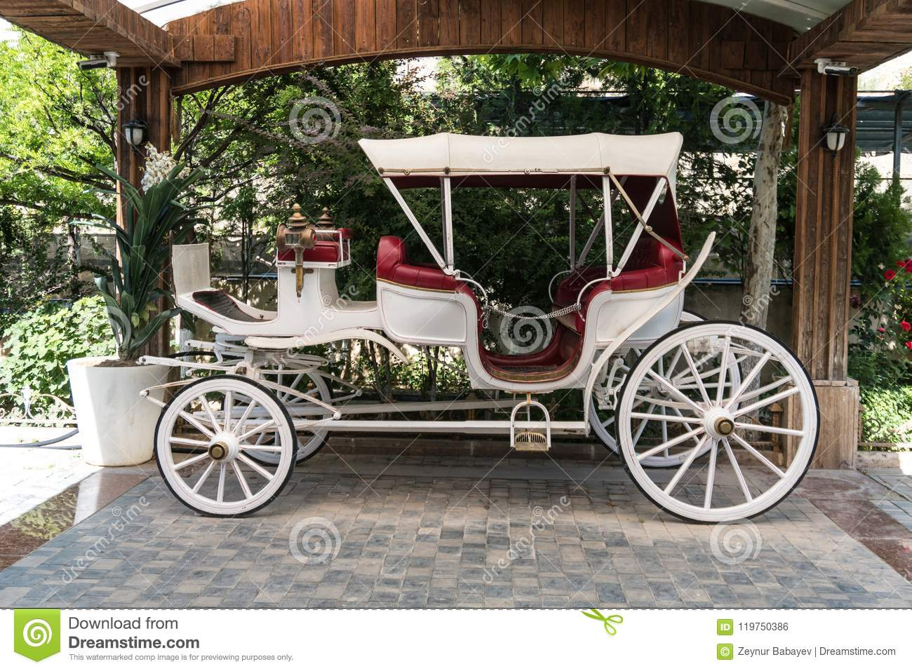 Old Or Antique White Horse Drawn Carriage Mock Up Stock Photo Image Of Carriage People 119750386