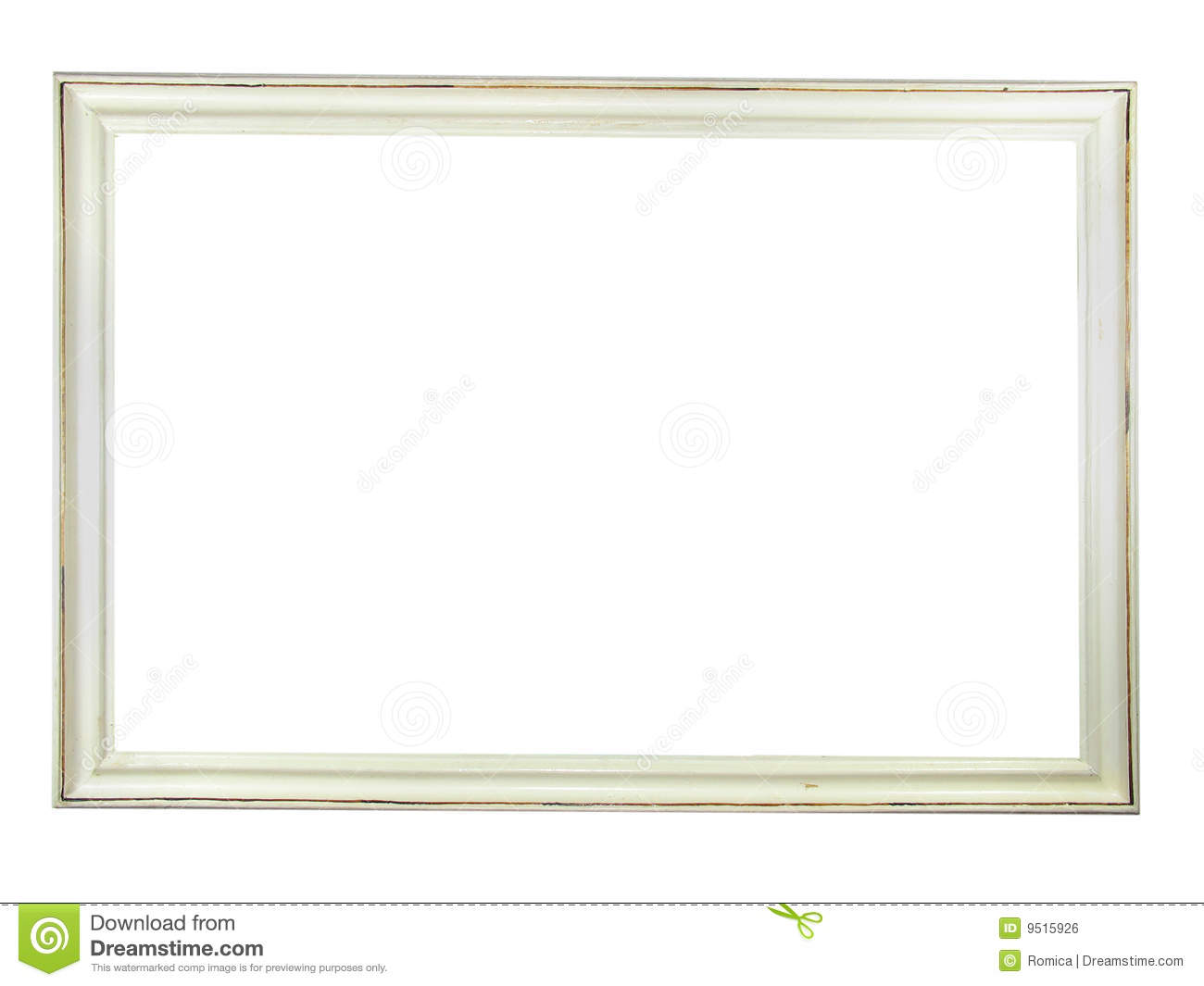 Old Antique White Wooden Picture Frame Stock Illustration