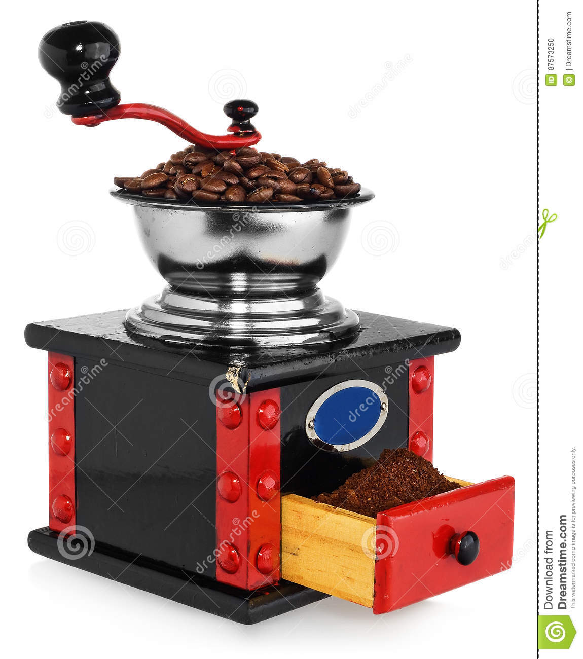 Download Old Antique Wooden Black And Red Coffee Grinder, Coffee Beans An Stock Photo - Image of antique, fresh: 87573250