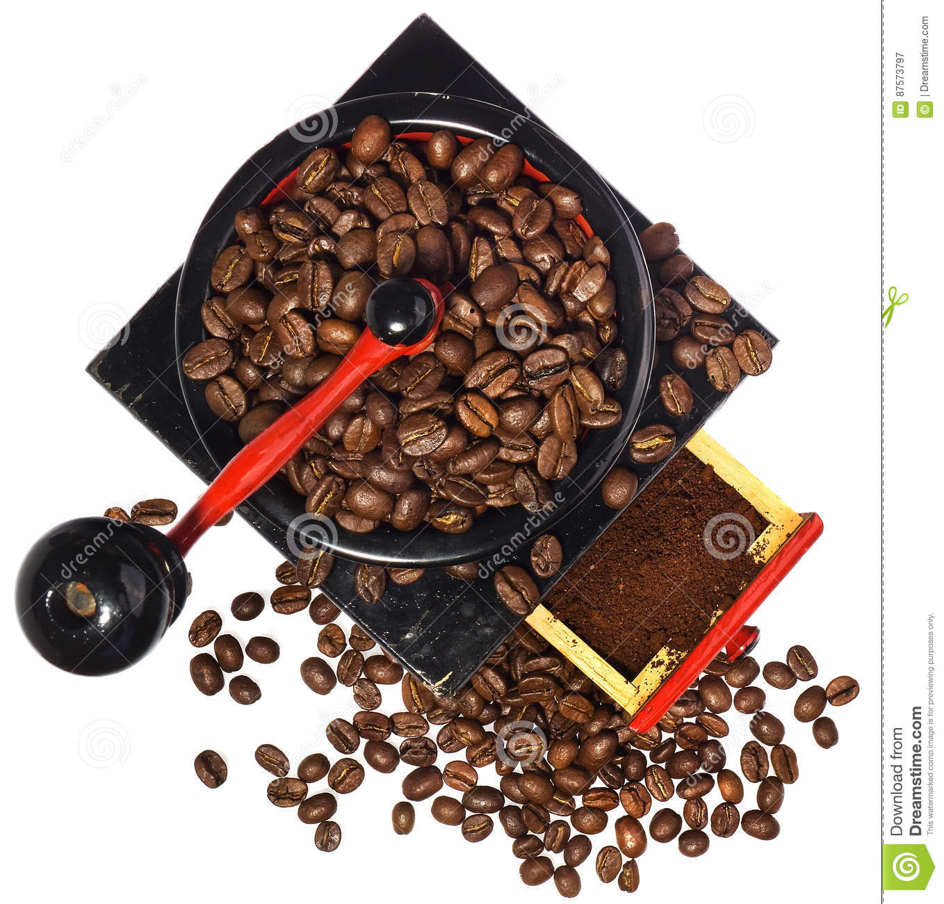 Download Old Antique Wooden Black And Red Coffee Grinder, Coffee Beans An Stock Image - Image of ingredient, blue: 87573797