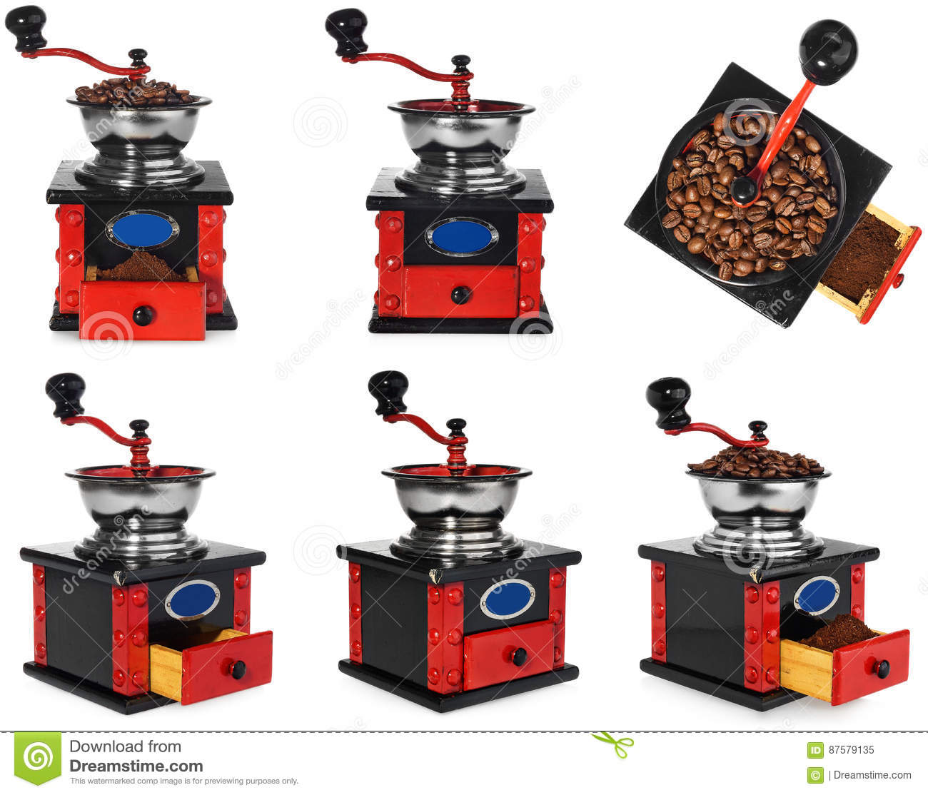 Download Old Antique Wooden Black And Red Coffee Grinder, Coffee Beans An Stock Image - Image of background, grain: 87579135