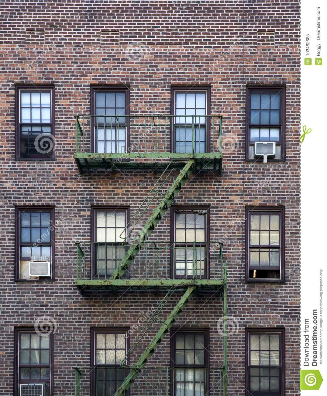 New York City Apartment Buildings: Old Apartment Building Manhattan, New York City Editorial