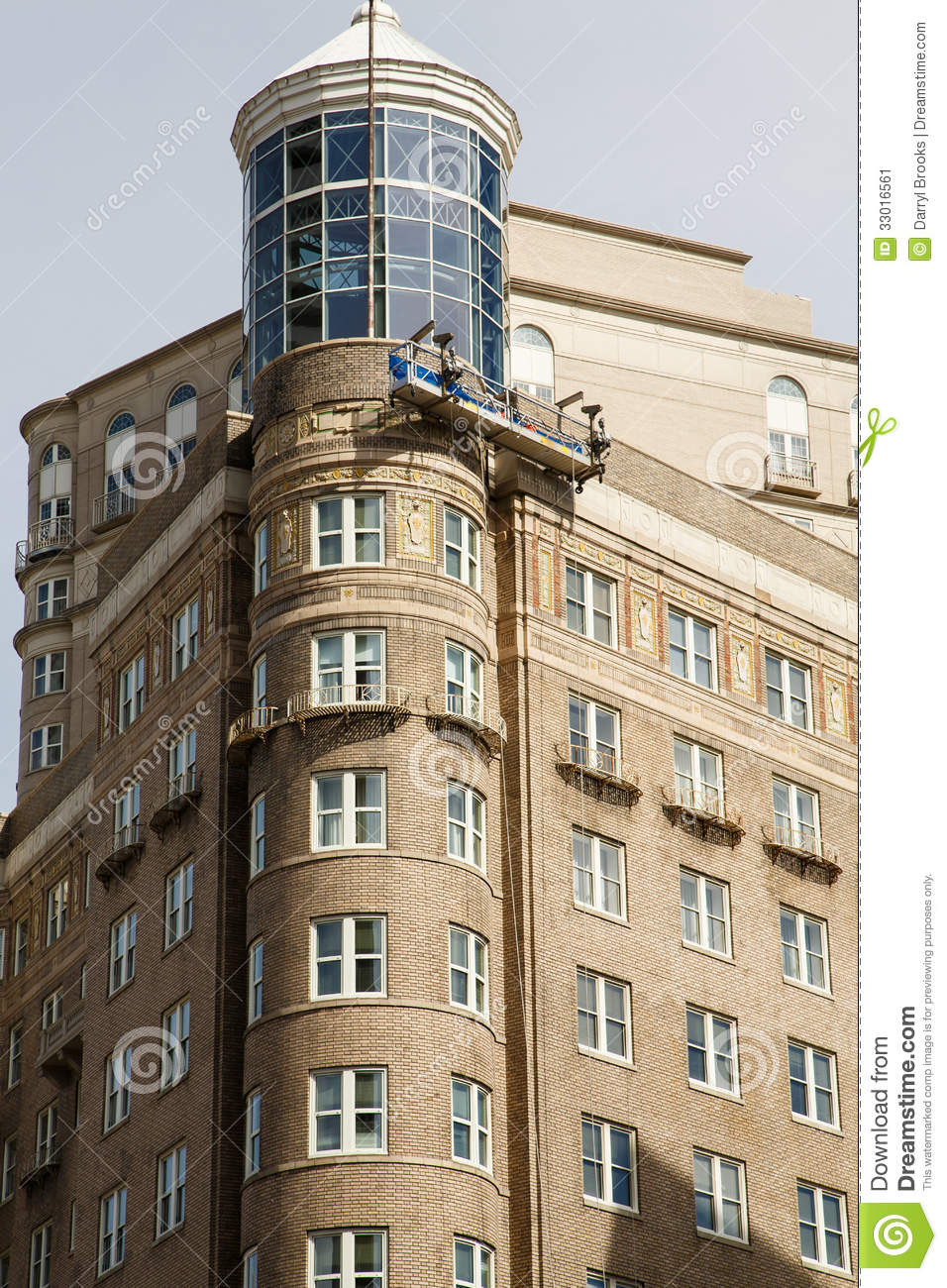 City Apartment Building Old Apartment Building With Round Corner Stock Image