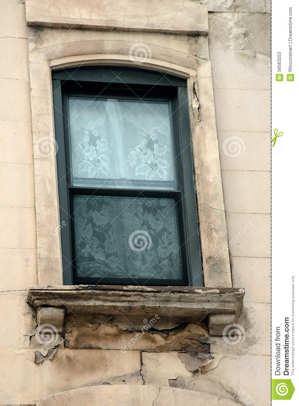 Masonry Building Framed : Old apartment building window decay stock photo image
