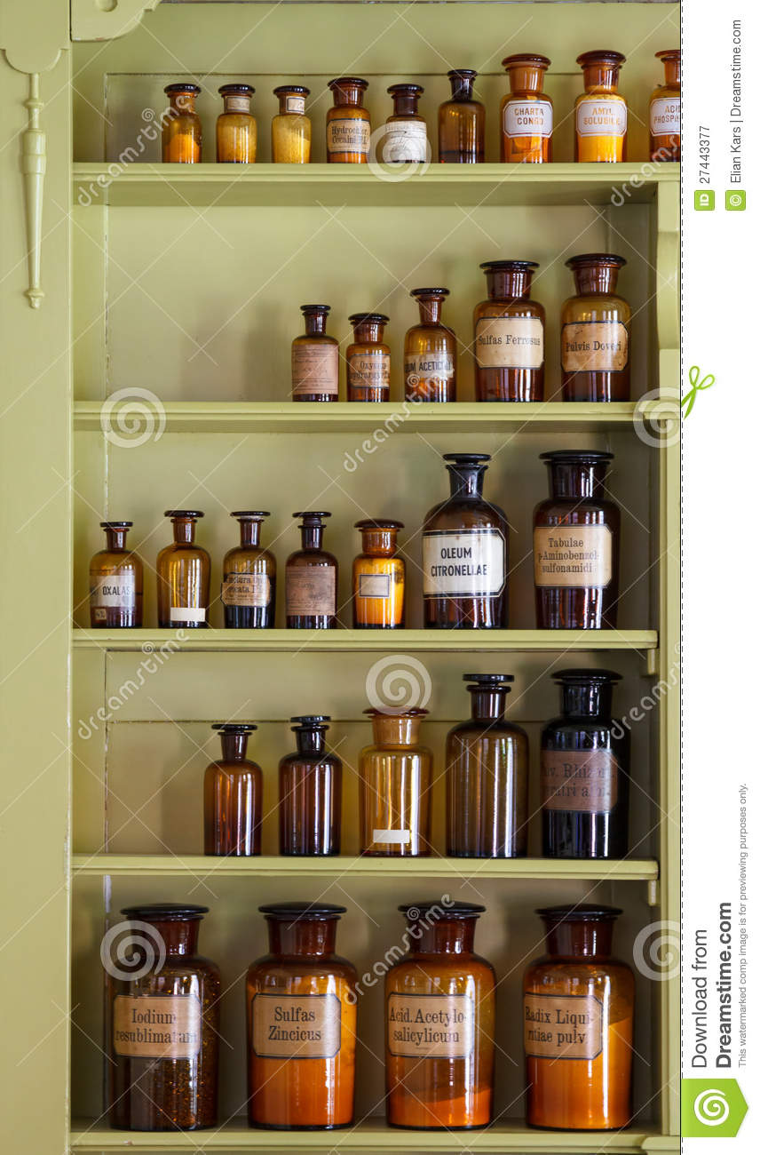 Antique Apothecary Cabinet Old Apothecary Cabinet With Storage Jars Royalty Free Stock