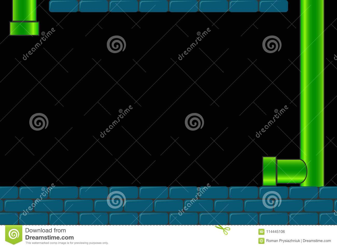 Old arcade video game background. Retro dark screen for game with bricks and pipe or tube. Vector.