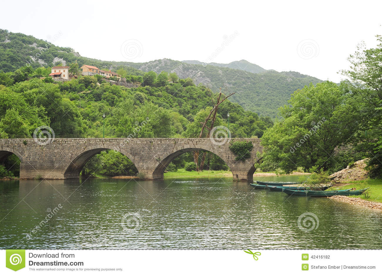 The old arched stone bridge of Rijeka Crnojevica