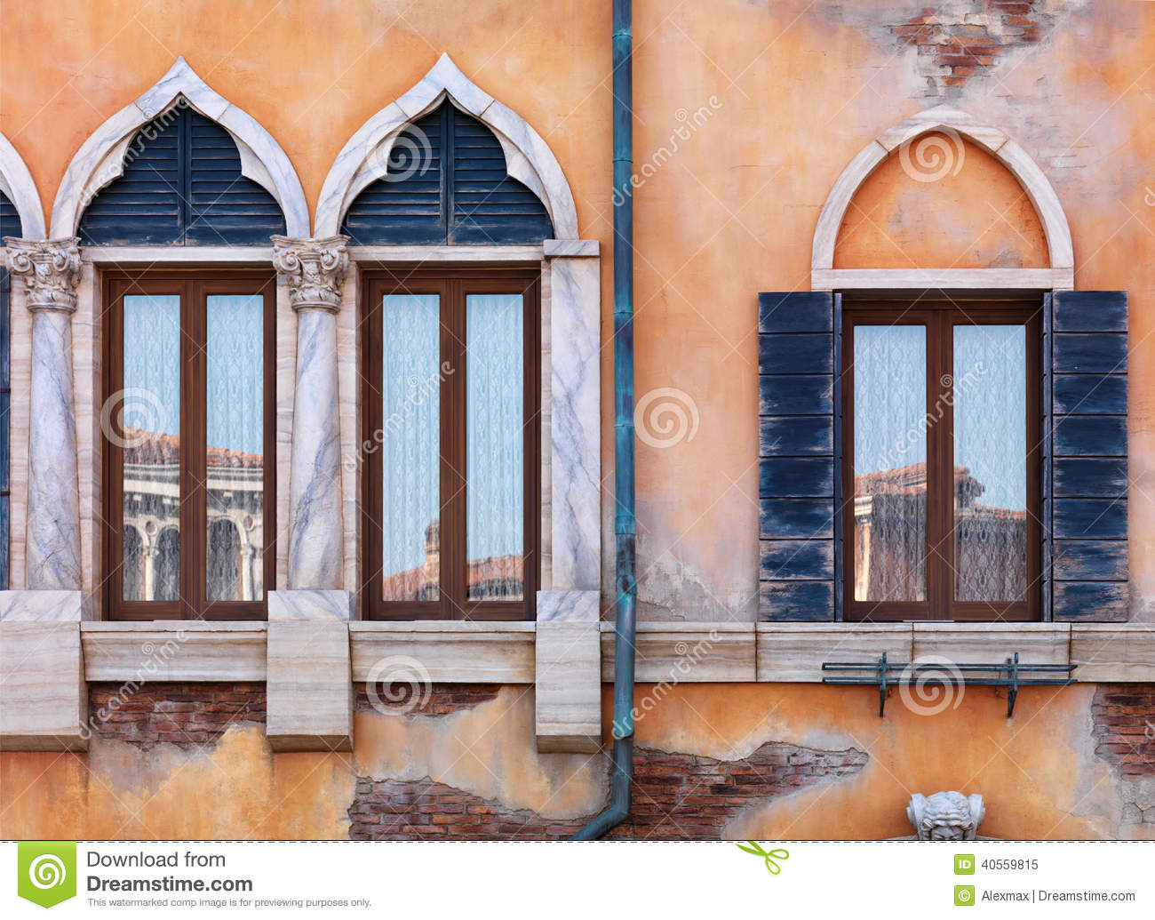 Old Arched Windows Of Venetian House Stock Image Image