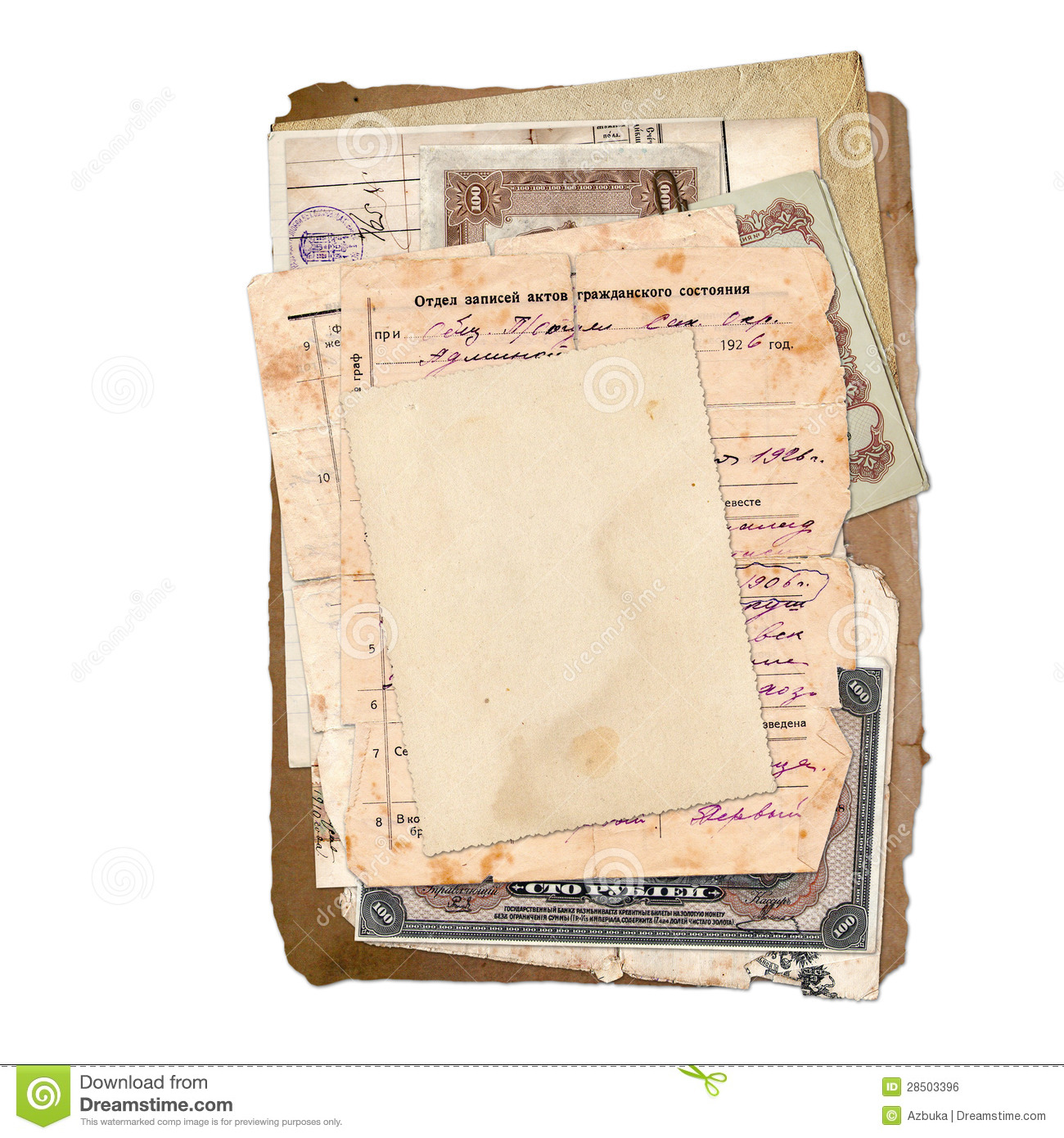 Old archive documents, letters, photo, money.