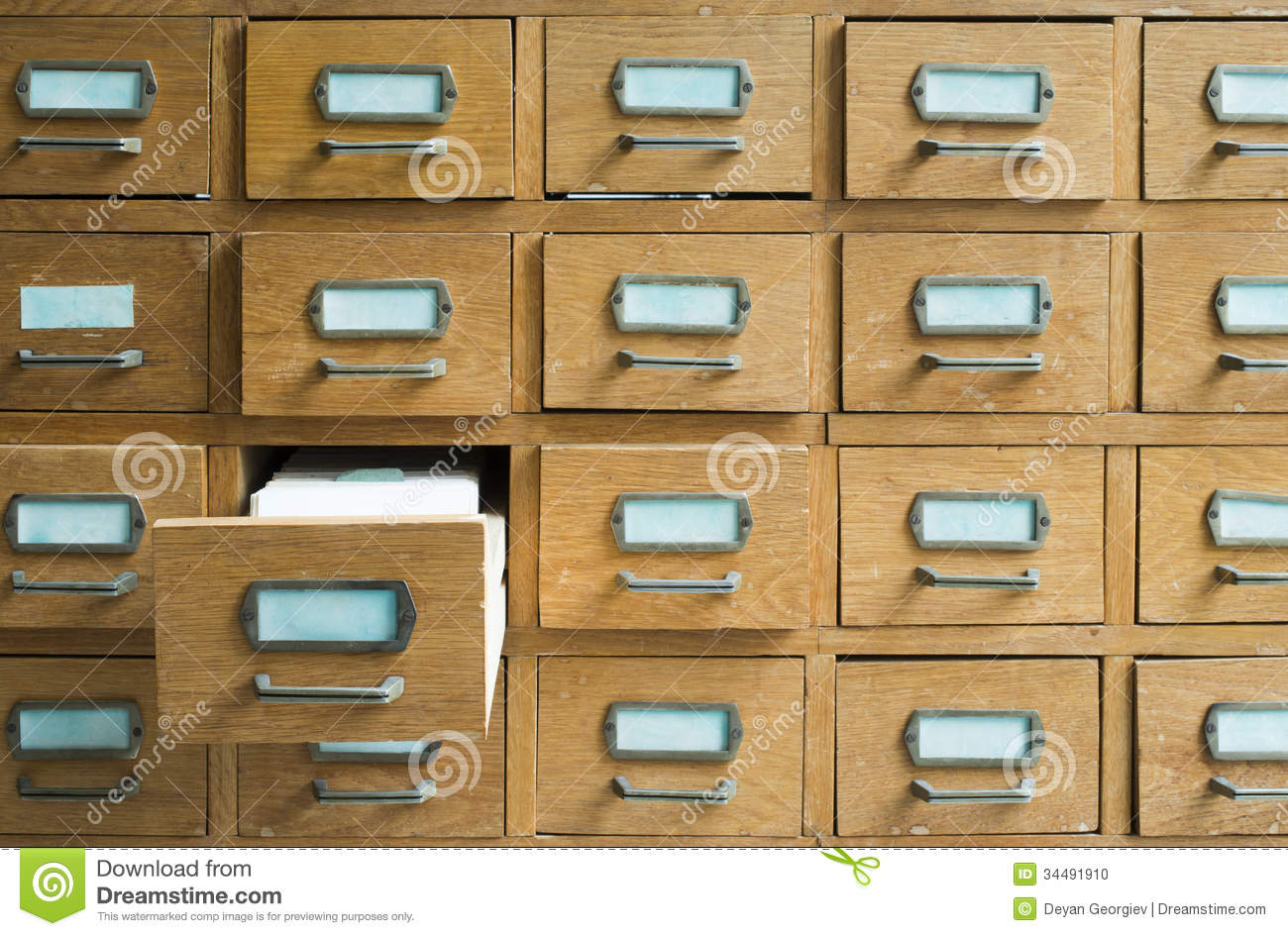 Old Archive Drawers Cabinet Royalty Free Stock Photography