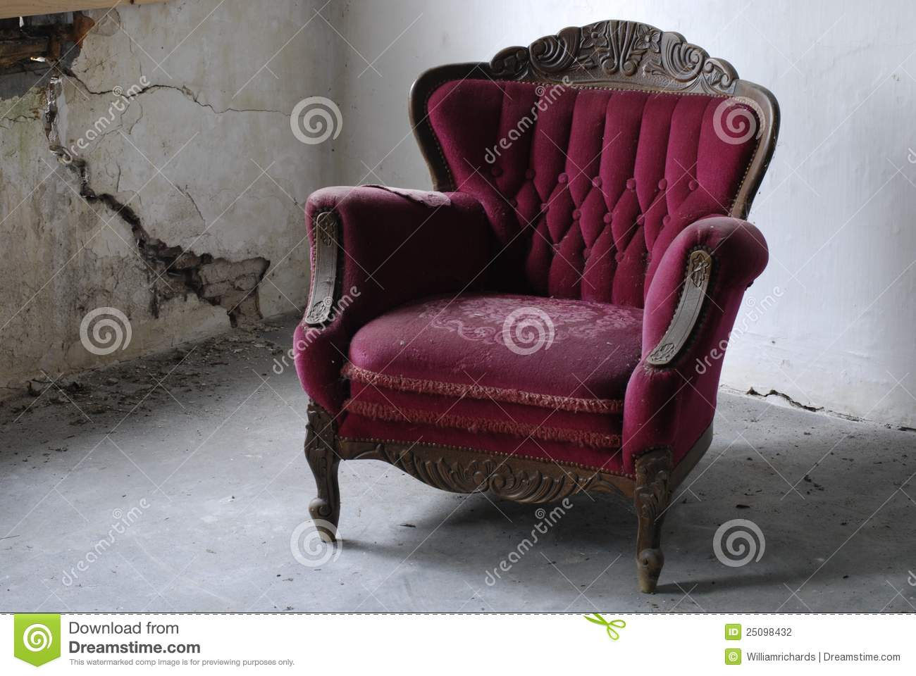 Old Armchair In Decaying Building Stock Photography