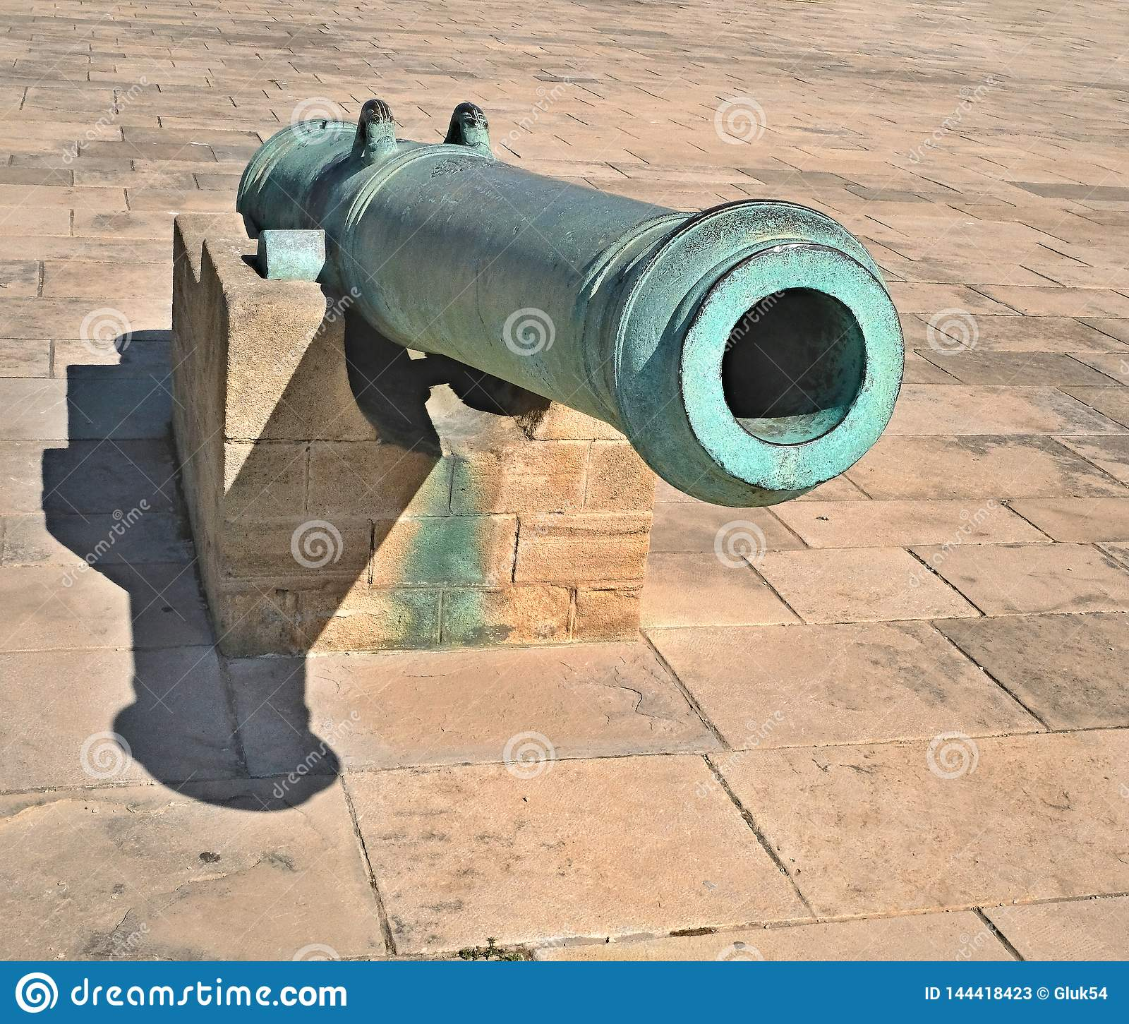 Old Artillery Gun. The Gun For The Cores, Covered With
