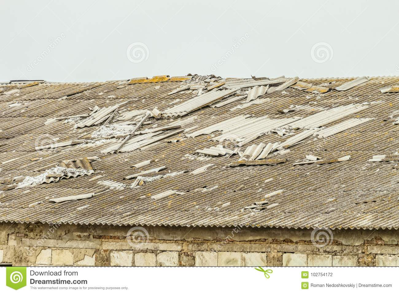 Old Asbestos-cement Roof Of A Dilapidated Agricultural