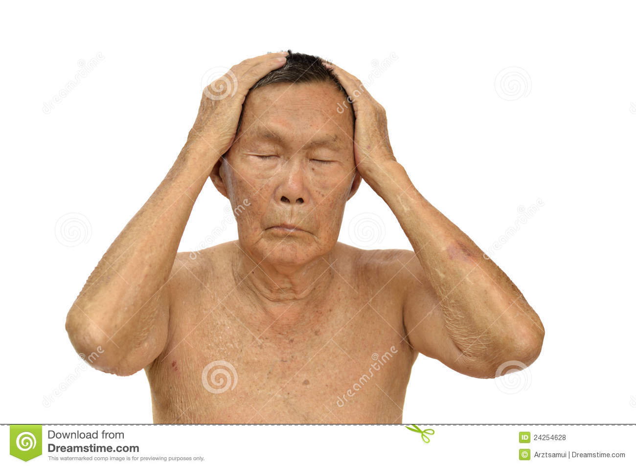 An Old Asian Man Stock Photo Image Of Ealdery Hair