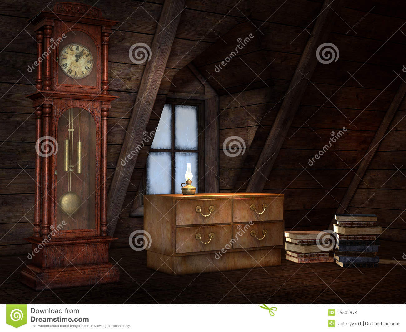 Old attic with a clock
