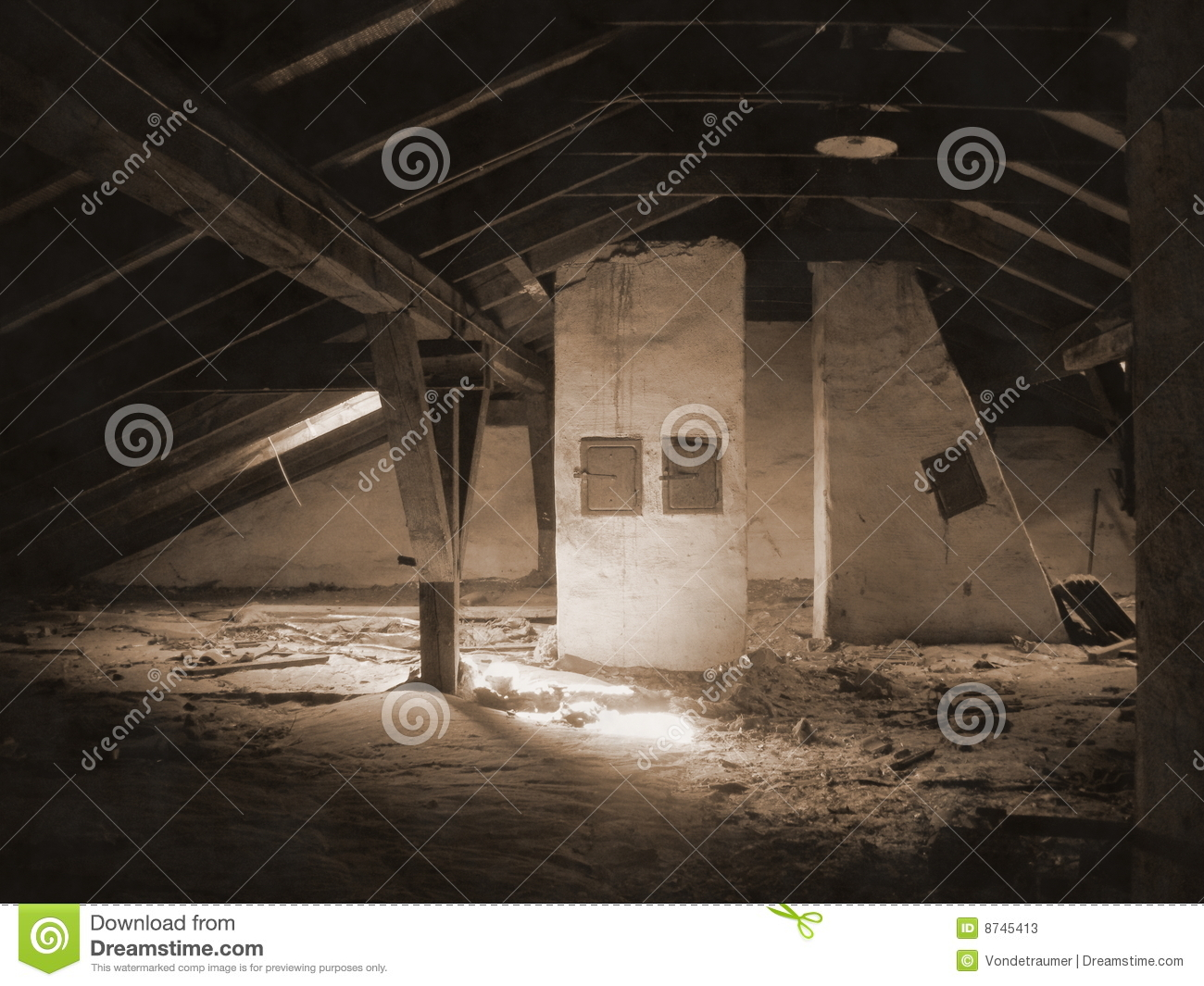 An Old Attic Under A Roof Stock Image Image Of