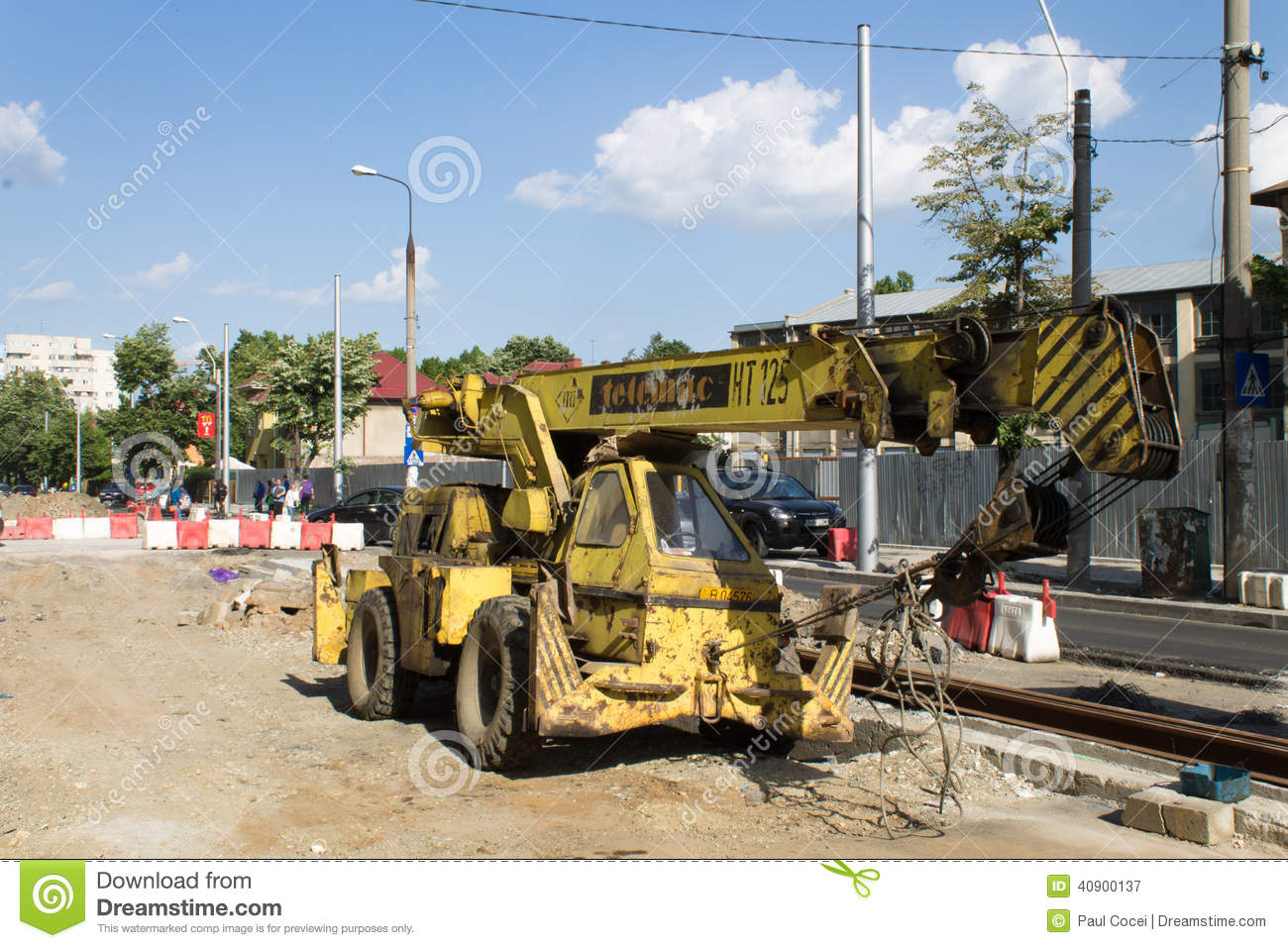 Auto Crane 6006 Wiring Diagram 30 Images Old Streetcar Construction Site Resting Bucharest Working Progress Rehabilitation Railway 40900137 48 2004 Boom