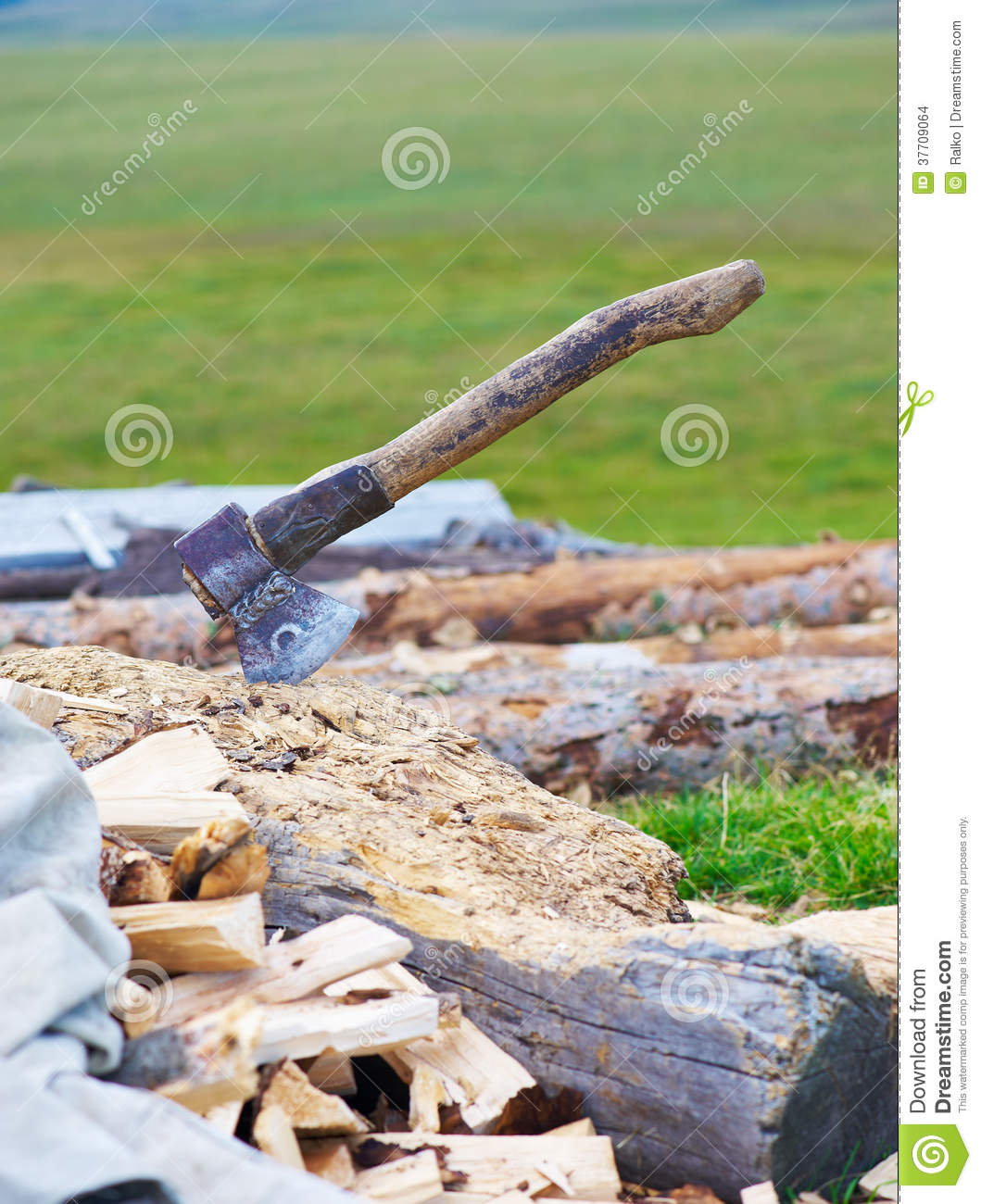 Old ax and firewood stock images image