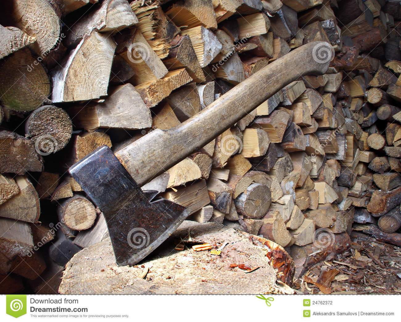 Old axe and firewood stock photography image