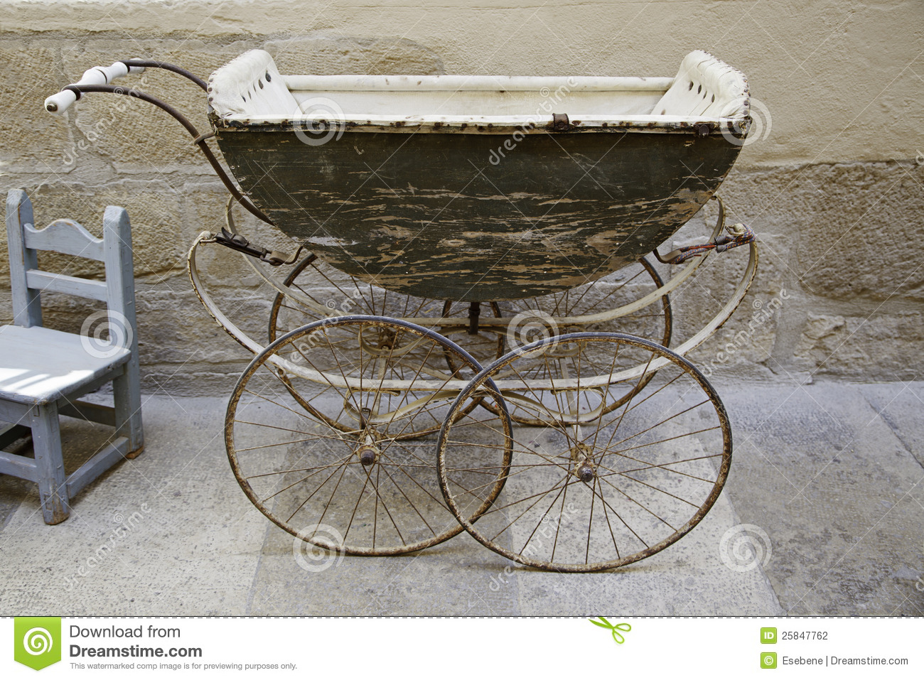 Old Baby Carriage Stock Photo Image Of Daffodil Infant
