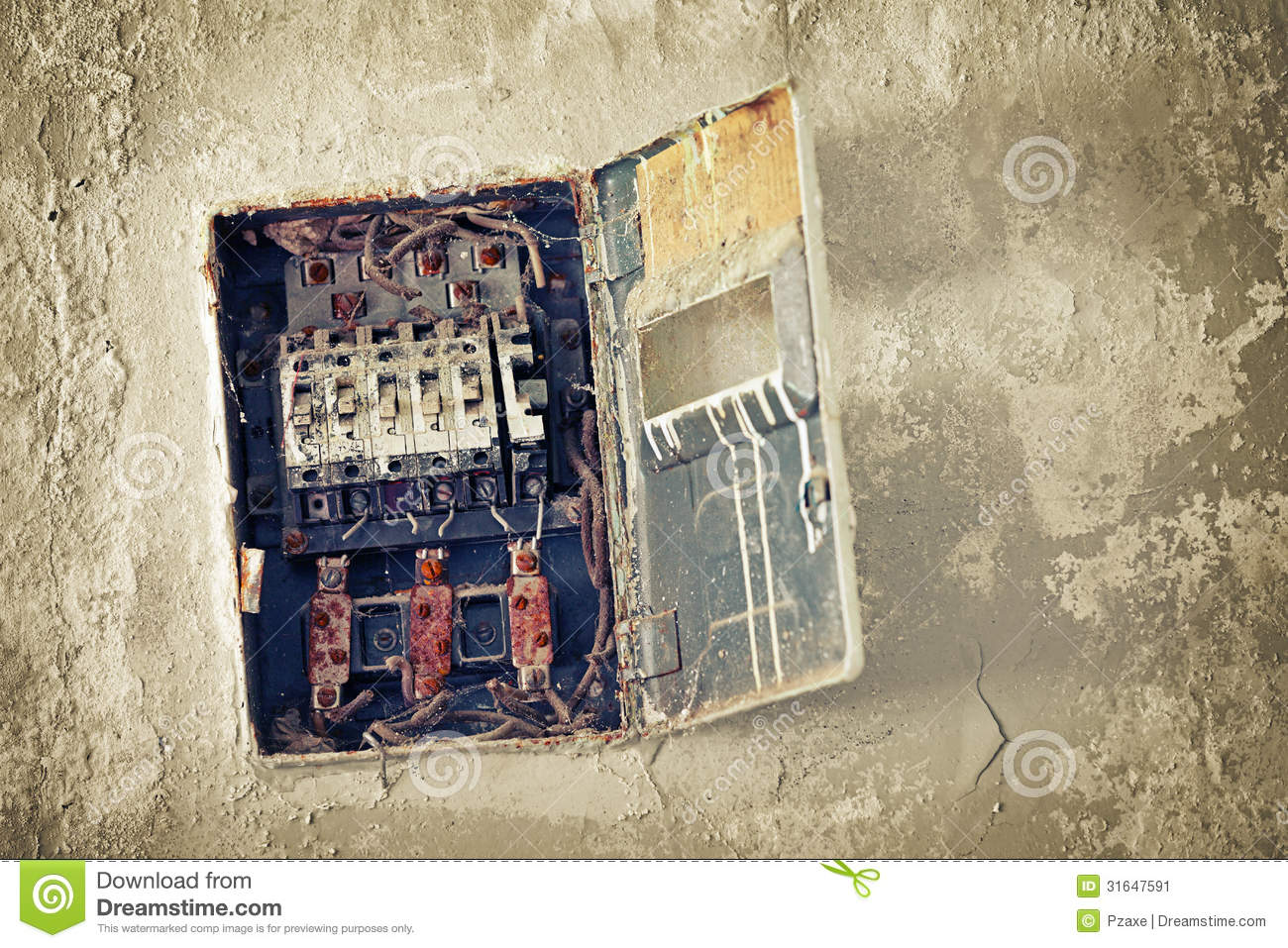 Fuse Box Wall Top Ideas About Garden Metering Circuit Databasecircuit Schematics Diagrams And Projects Old On The Stock Photo Image Bad Rusty Switch