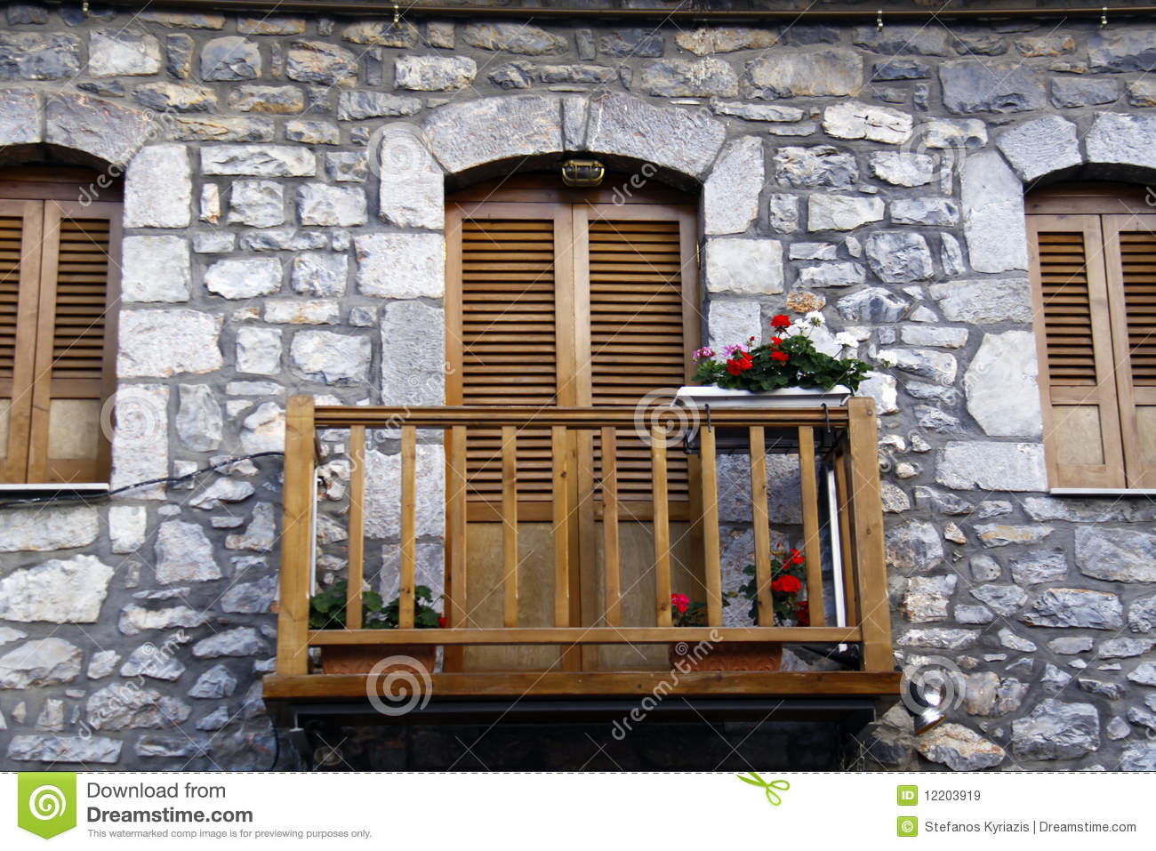 Old Balcony With Flowers Stock Image Image Of