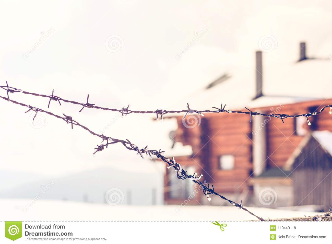 Old Barbed Wire Fence In Winter Stock Photo - Image of barbwire ...