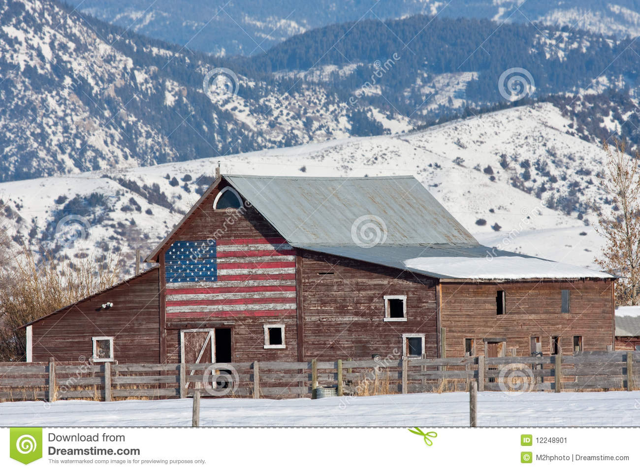 Old barn with american flag stock image image of country for American barns prices