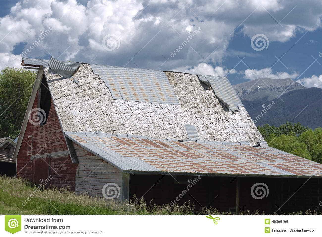 Old Barn Stock Photo Image Of Mountains Clouds Elevator