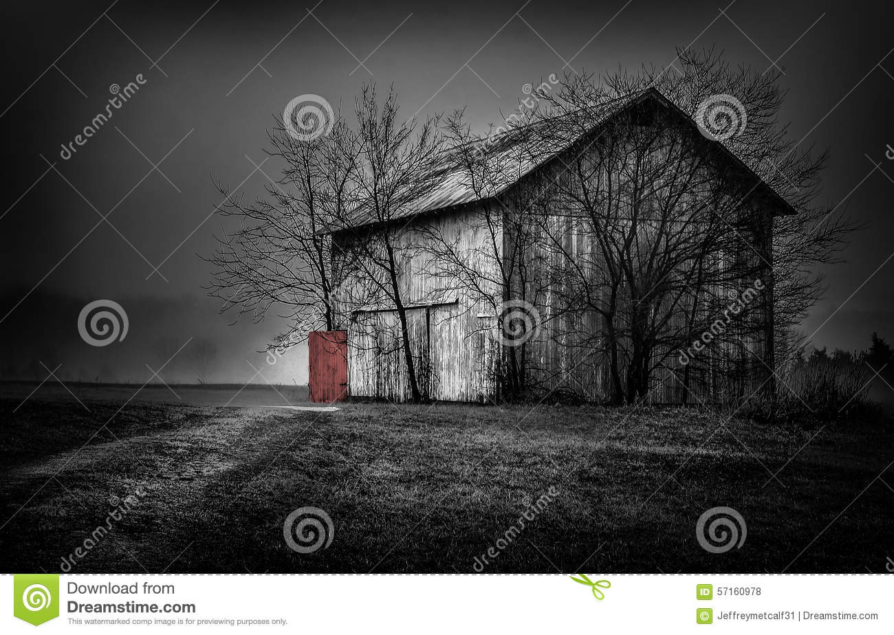 Old Barn With A Red Door Landscape Stock Photo Image Of