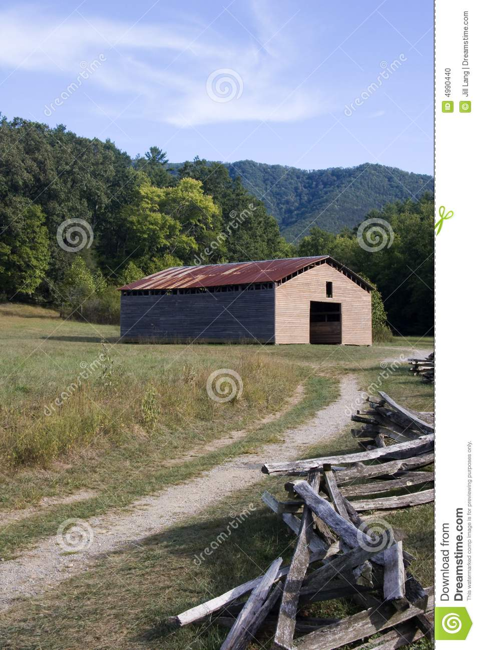 Old Barn And Split Rail Fence Stock Photo - Image of rust