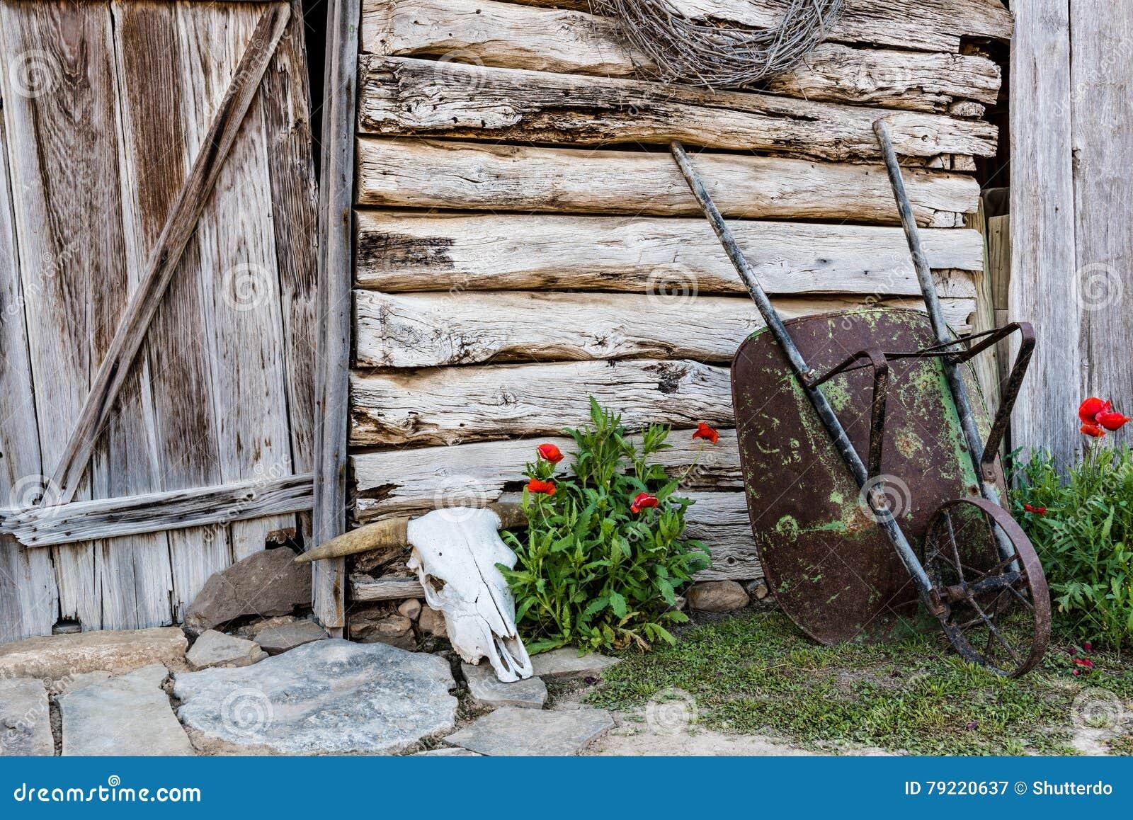 Old Barn with Wheelbarrel