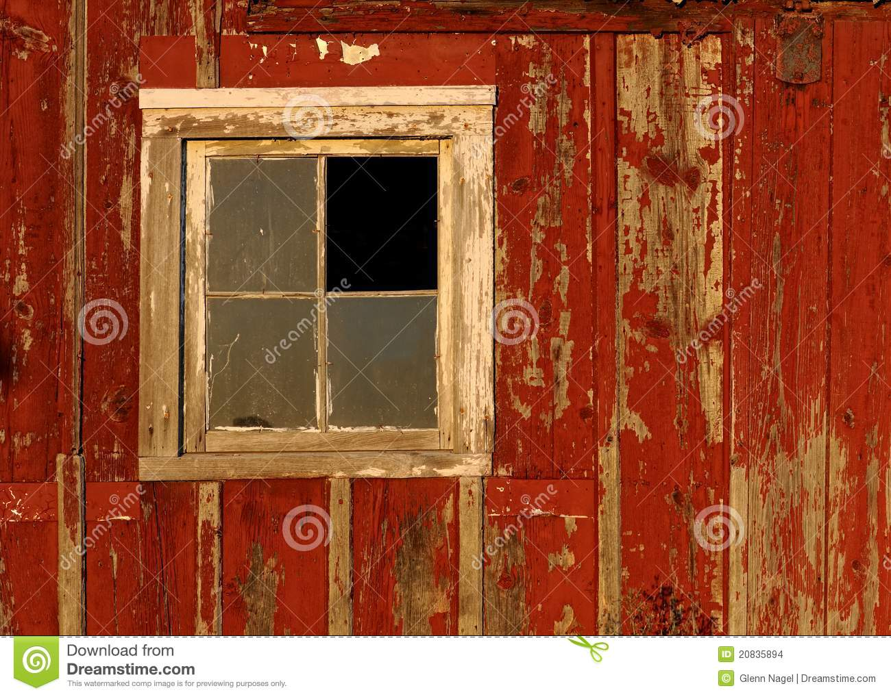 Old Barn Window On Red Wall Stock Photo Image Of Nobody