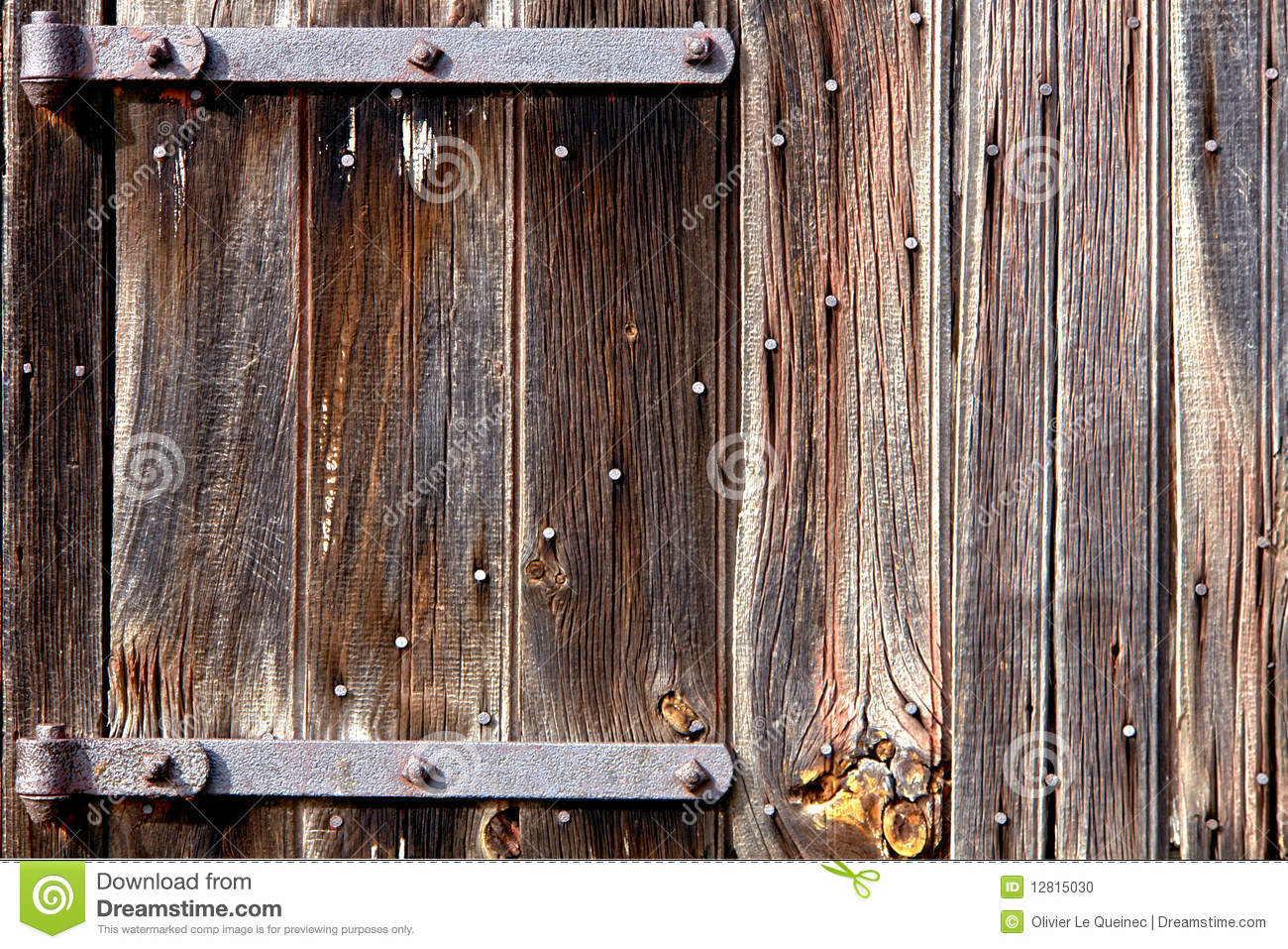 Old Barn Wood Door With Iron Hinges Stock Photo Image