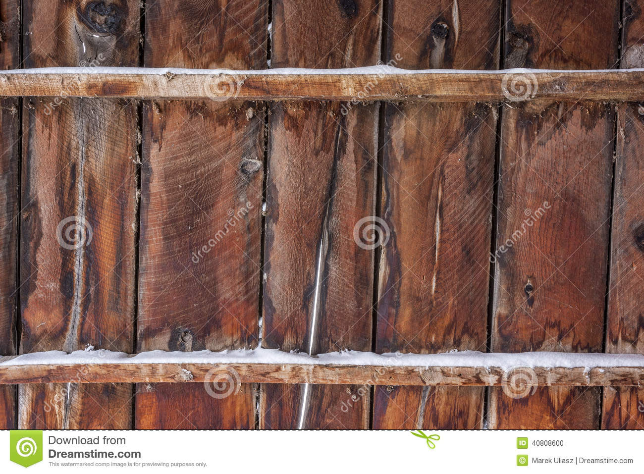 Old barn wood with snow stock photo image of vintage